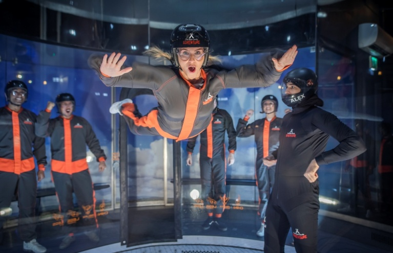 iFly Woman Flying Bear Grylls Adventure Birmingham Experience Day.jpg